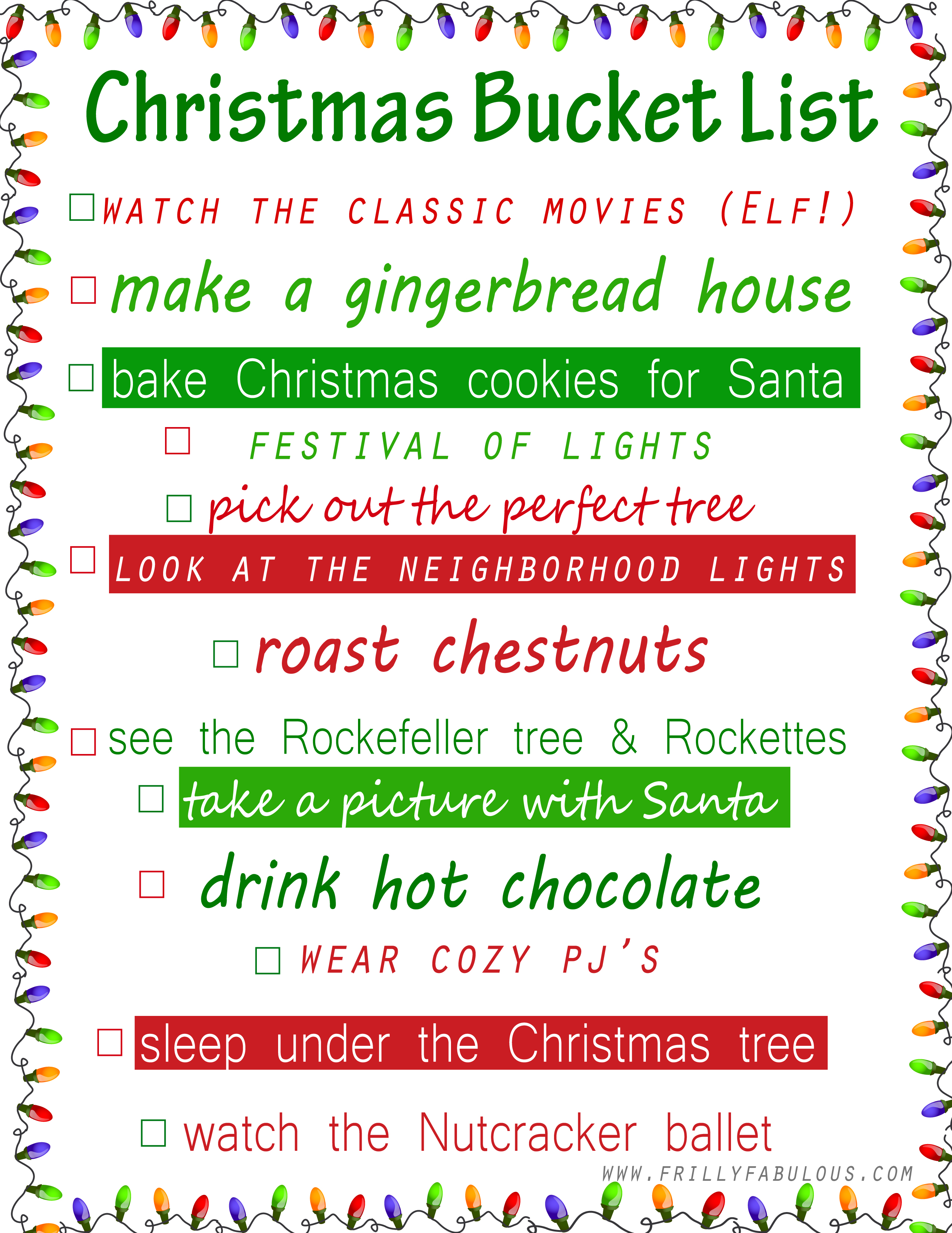 List Of Christmas Things